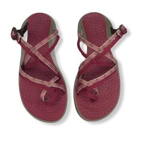 Chaco Zong X Eco Tread Maroon and Tan Sandals.